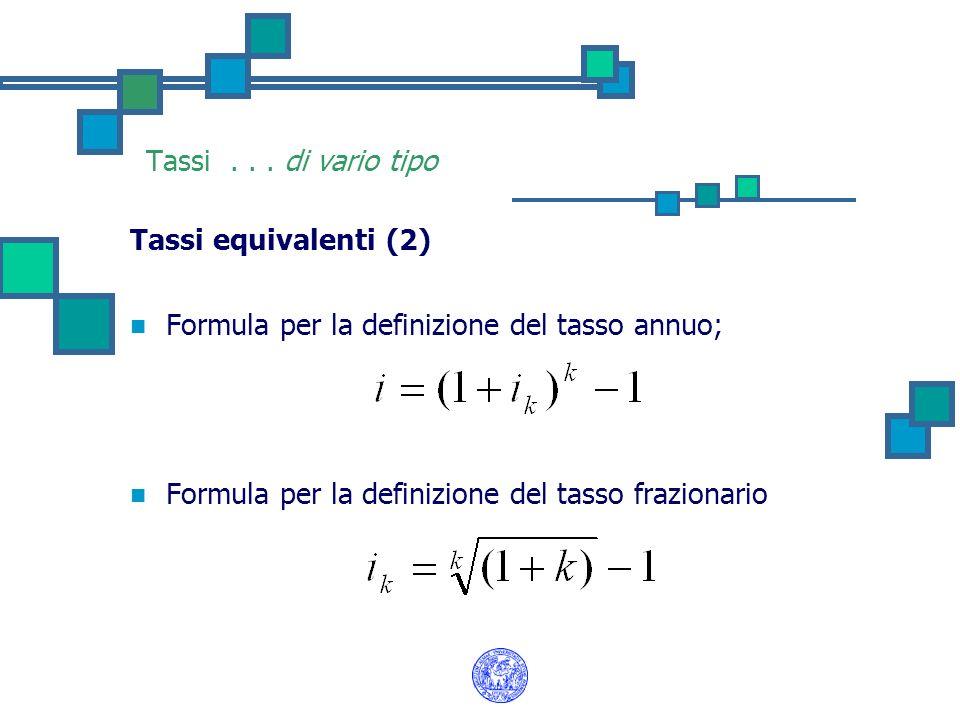 Tassi... di vario tipo Tassi equivalenti (2) Formula per la definizione del tasso annuo; Formula per la definizione del tasso frazionario