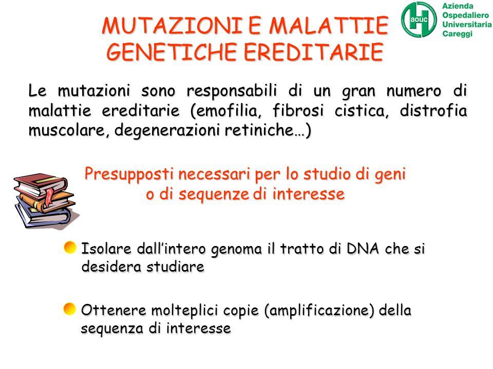 MUTAZIONI E MALATTIE GENETICHE EREDITARIE Le mutazioni sono responsabili di un gran numero di malattie ereditarie (emofilia, fibrosi cistica, distrofi