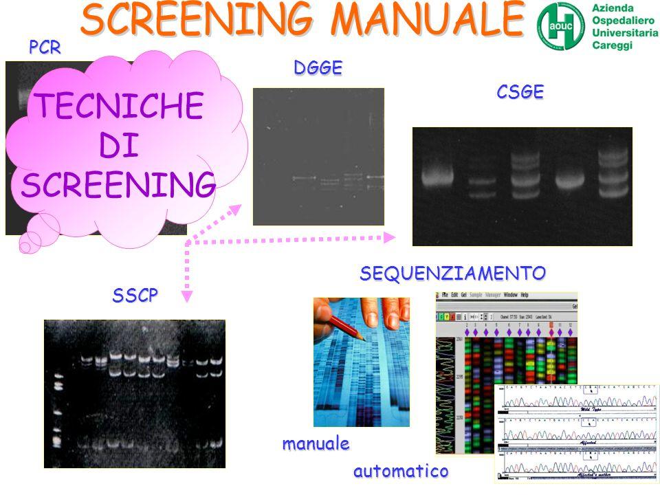 SEQUENZIAMENTO manuale automatico PCR DGGE CSGE SSCP TECNICHE DI SCREENING