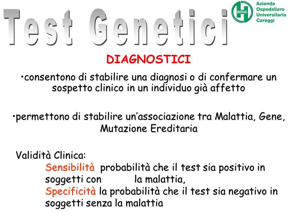 Linee Guida per I test genetici ISS DIAGNOSTICI consentono di stabilire una diagnosi o di confermare un sospetto clinico in un individuo già affettoco