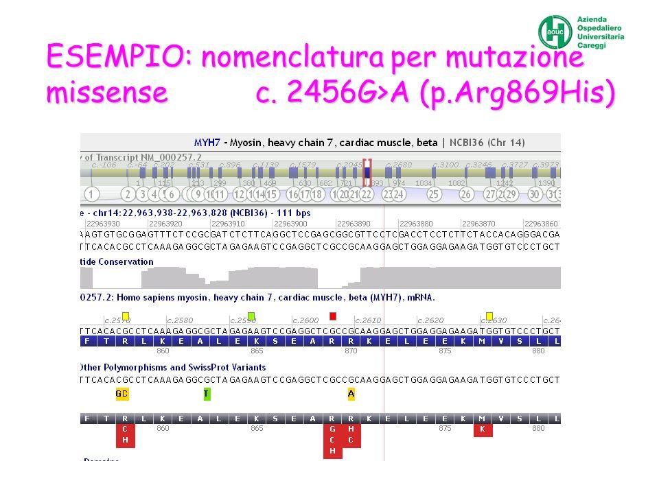 ESEMPIO: nomenclatura per mutazione missense c. 2456G>A (p.Arg869His)