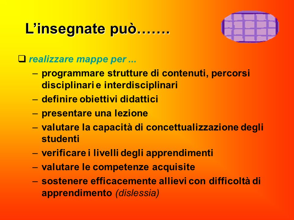 realizzare mappe per... –programmare strutture di contenuti, percorsi disciplinari e interdisciplinari –definire obiettivi didattici –presentare una l