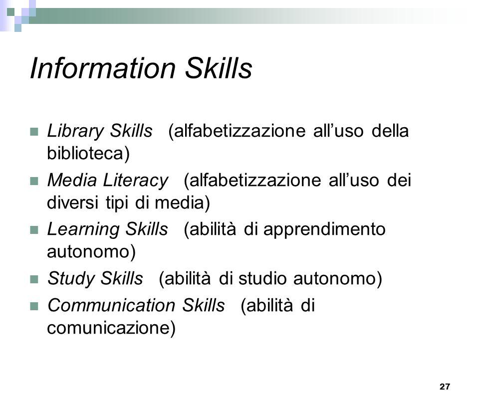 27 Information Skills Library Skills (alfabetizzazione alluso della biblioteca) Media Literacy (alfabetizzazione alluso dei diversi tipi di media) Lea