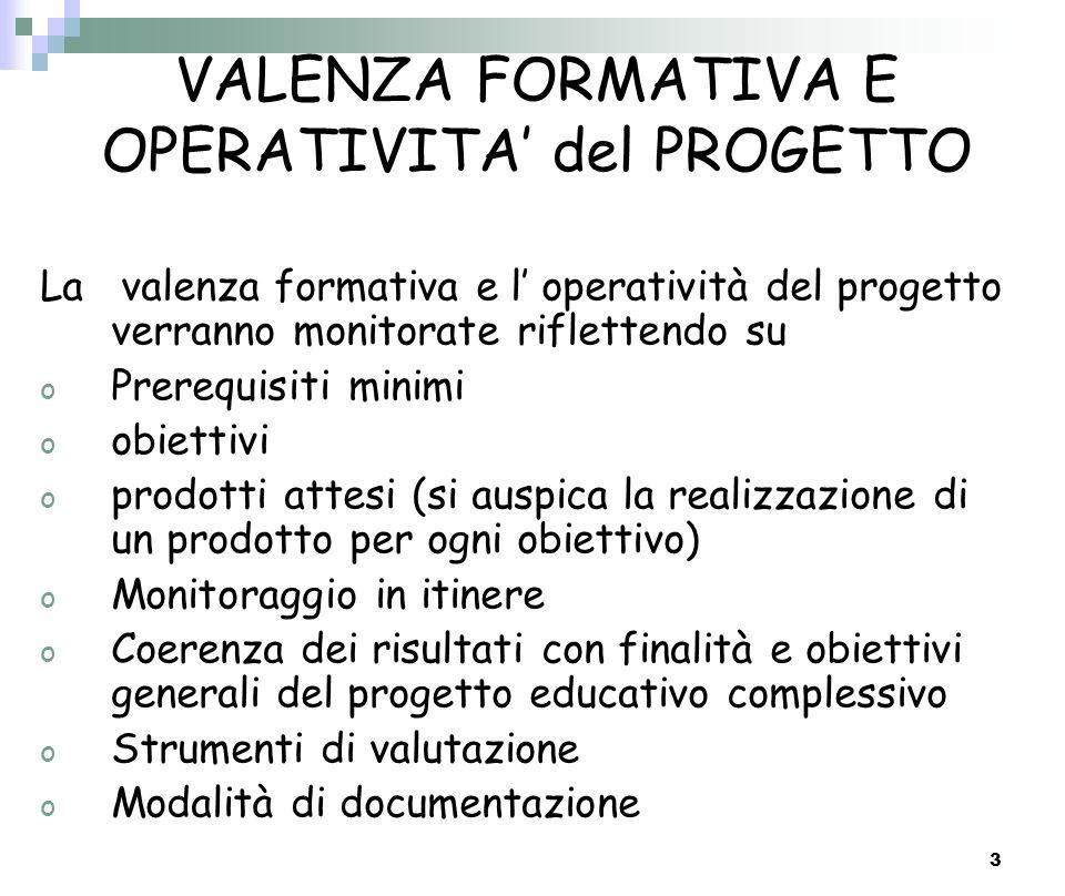 3 VALENZA FORMATIVA E OPERATIVITA del PROGETTO La valenza formativa e l operatività del progetto verranno monitorate riflettendo su o Prerequisiti min