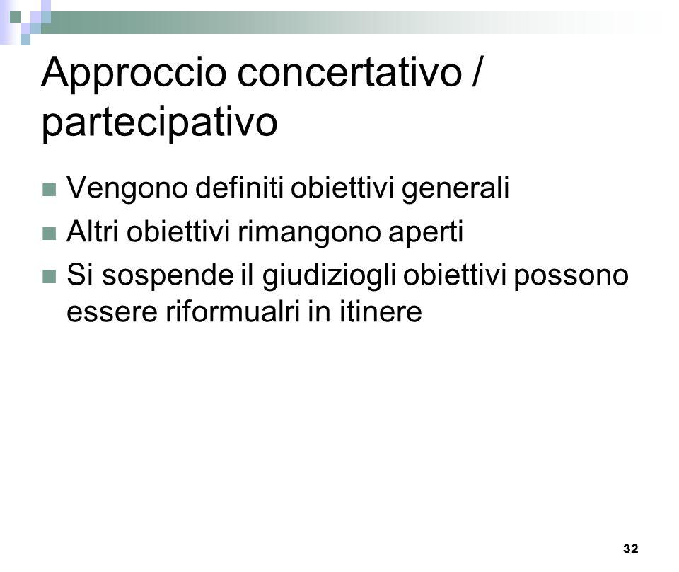 32 Approccio concertativo / partecipativo Vengono definiti obiettivi generali Altri obiettivi rimangono aperti Si sospende il giudiziogli obiettivi po