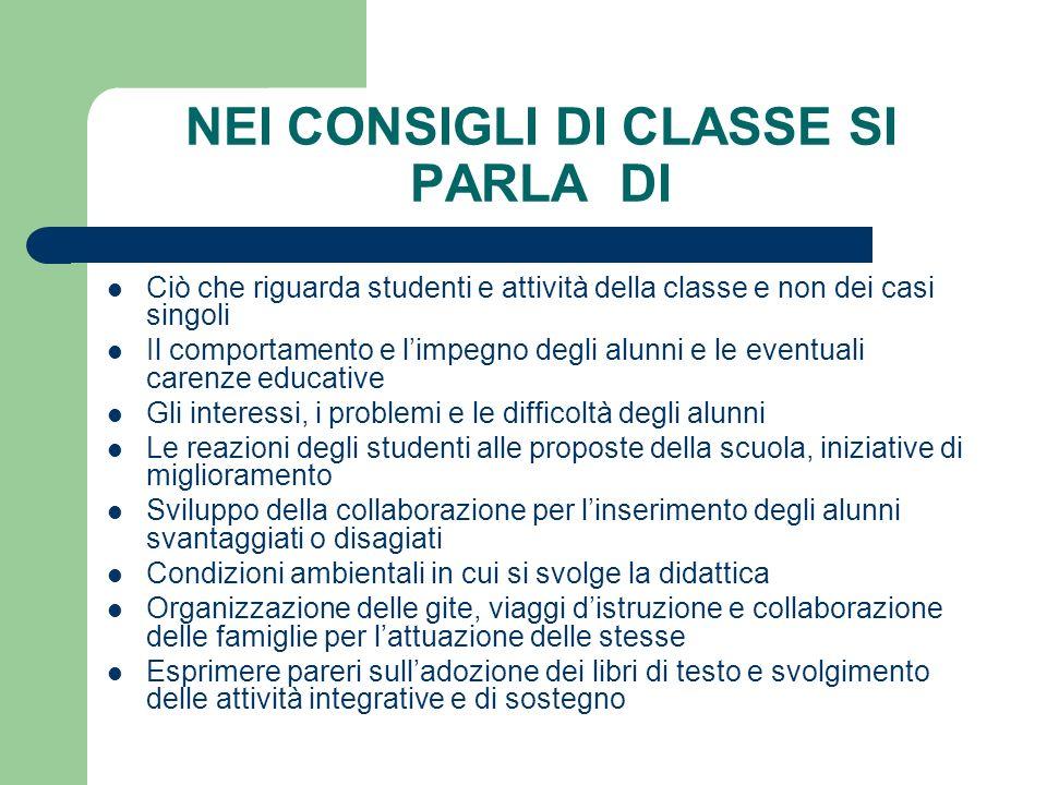 Ciò che riguarda studenti e attività della classe e non dei casi singoli Il comportamento e limpegno degli alunni e le eventuali carenze educative Gli