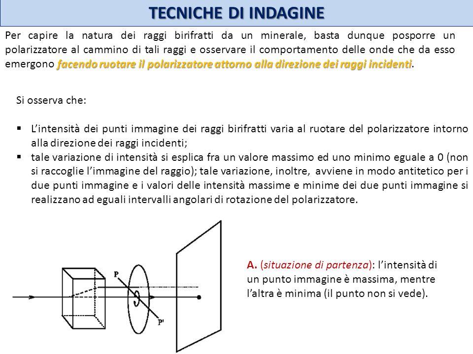 TECNICHE DI INDAGINE facendo ruotare il polarizzatore attorno alla direzione dei raggi incidenti Per capire la natura dei raggi birifratti da un miner