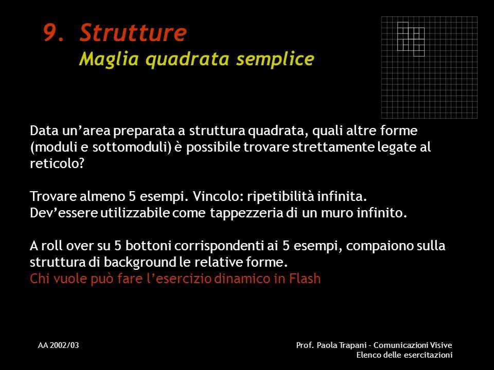 AA 2002/03Prof. Paola Trapani - Comunicazioni Visive Elenco delle esercitazioni 9.Strutture Maglia quadrata semplice Data unarea preparata a struttura