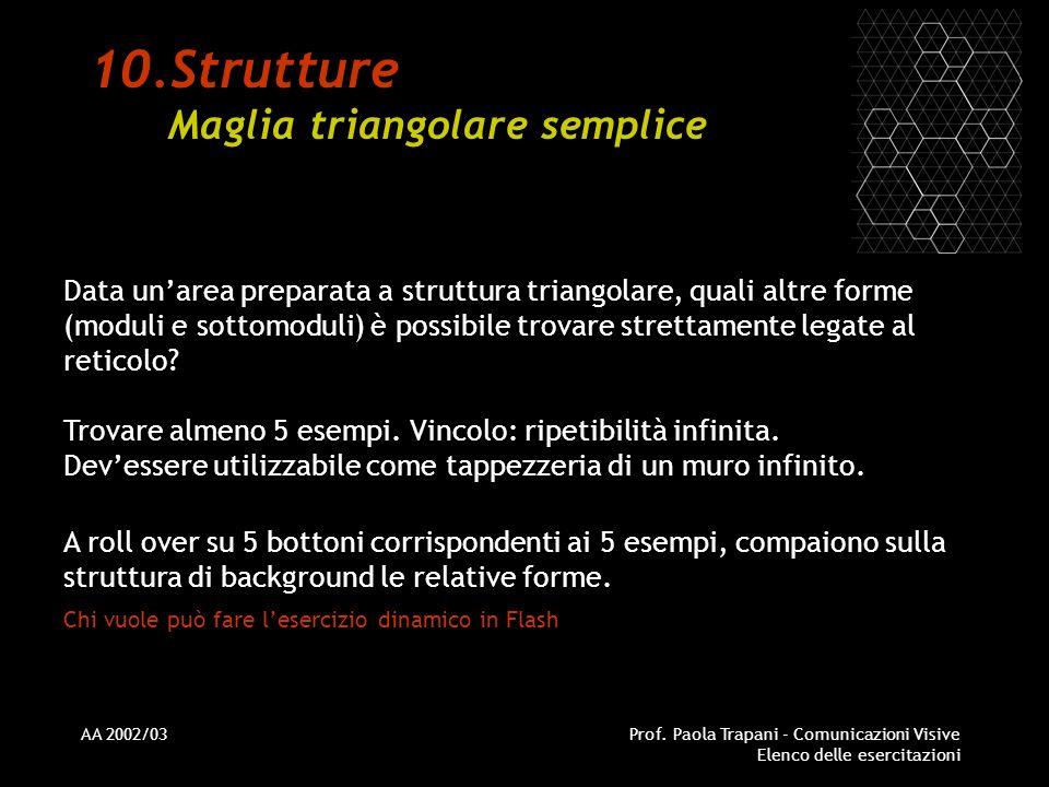 AA 2002/03Prof. Paola Trapani - Comunicazioni Visive Elenco delle esercitazioni 10.Strutture Maglia triangolare semplice Data unarea preparata a strut