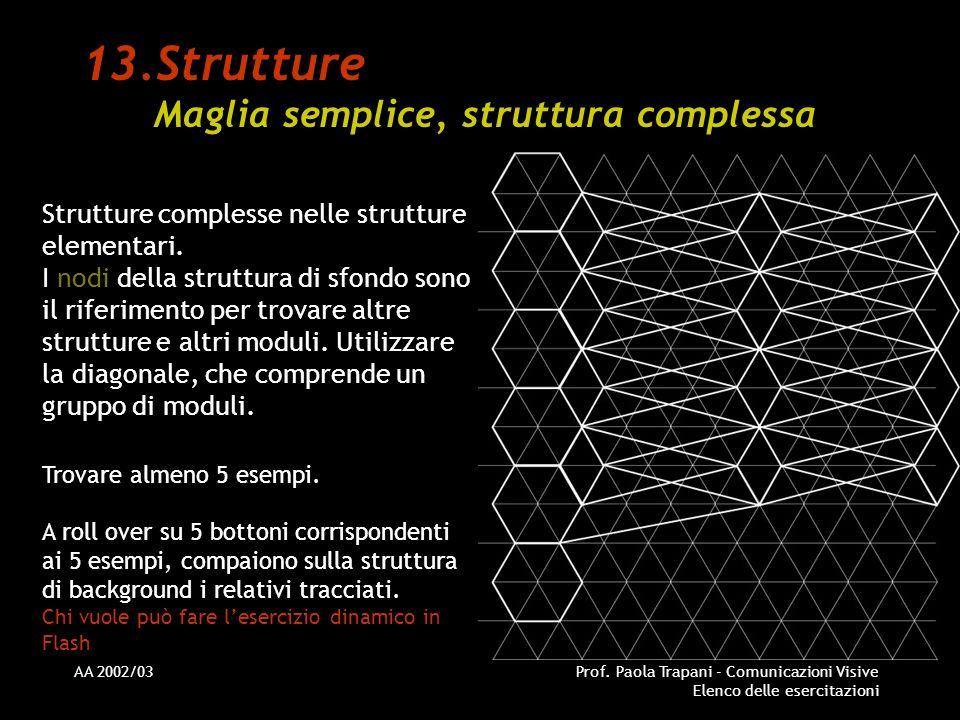 AA 2002/03Prof. Paola Trapani - Comunicazioni Visive Elenco delle esercitazioni 13.Strutture Maglia semplice, struttura complessa Strutture complesse