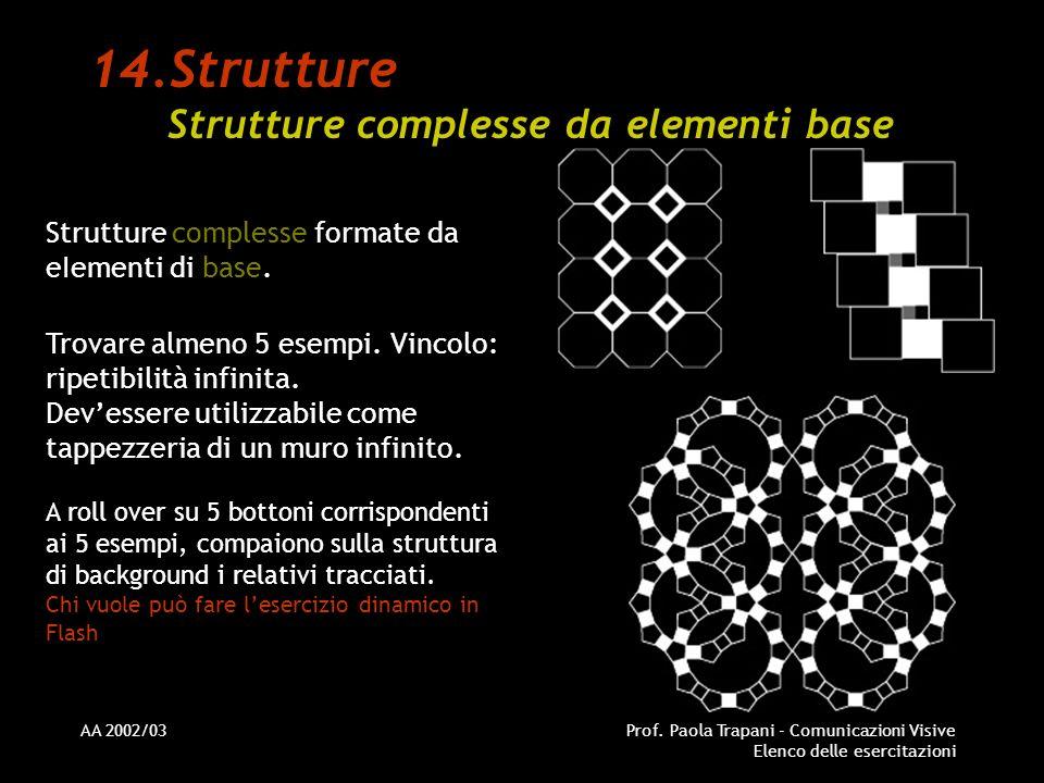 AA 2002/03Prof. Paola Trapani - Comunicazioni Visive Elenco delle esercitazioni 14.Strutture Strutture complesse da elementi base Strutture complesse