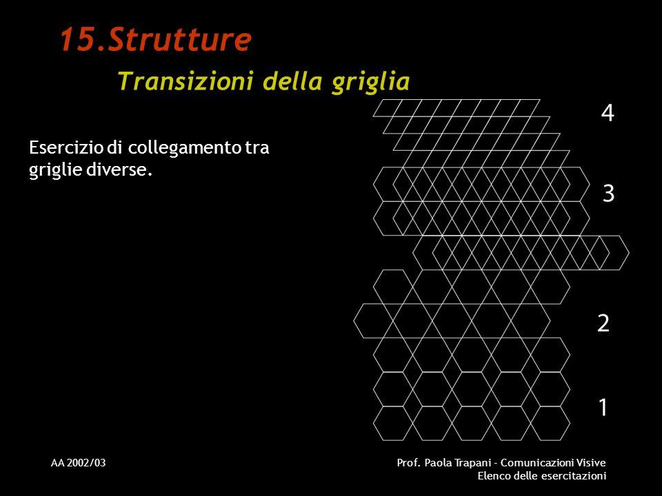 AA 2002/03Prof. Paola Trapani - Comunicazioni Visive Elenco delle esercitazioni 15.Strutture Transizioni della griglia Esercizio di collegamento tra g