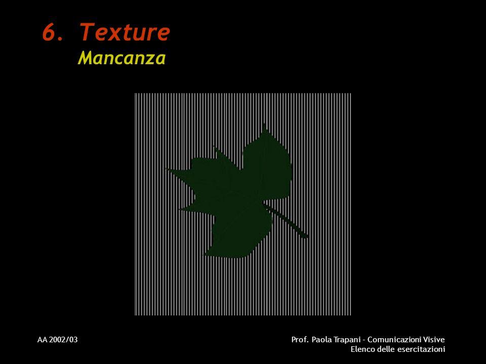 AA 2002/03Prof. Paola Trapani - Comunicazioni Visive Elenco delle esercitazioni 6.Texture Mancanza