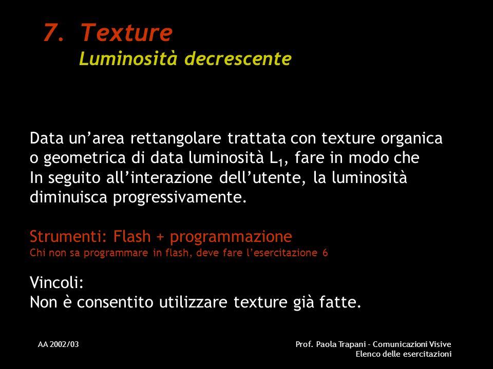 AA 2002/03Prof. Paola Trapani - Comunicazioni Visive Elenco delle esercitazioni 7.Texture Luminosità decrescente Data unarea rettangolare trattata con