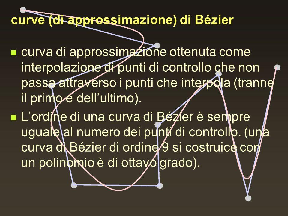 curve (di approssimazione) di Bézier curva di approssimazione ottenuta come interpolazione di punti di controllo che non passa attraverso i punti che
