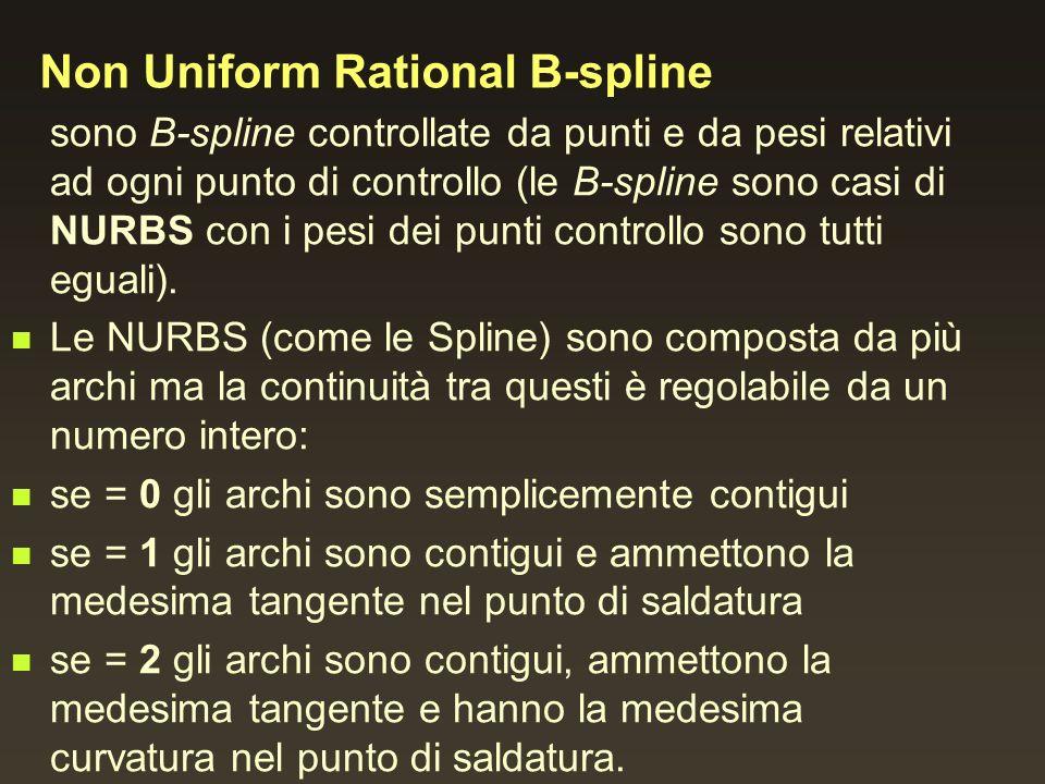 Non Uniform Rational B-spline sono B-spline controllate da punti e da pesi relativi ad ogni punto di controllo (le B-spline sono casi di NURBS con i p