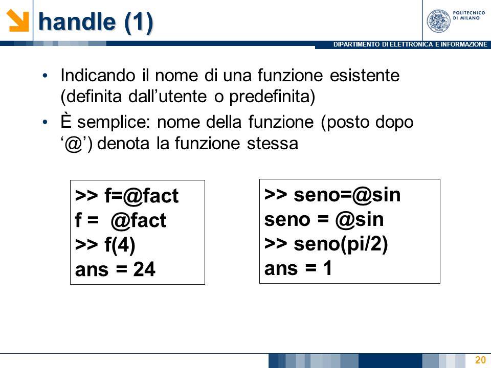 DIPARTIMENTO DI ELETTRONICA E INFORMAZIONE handle (1) Indicando il nome di una funzione esistente (definita dallutente o predefinita) È semplice: nome