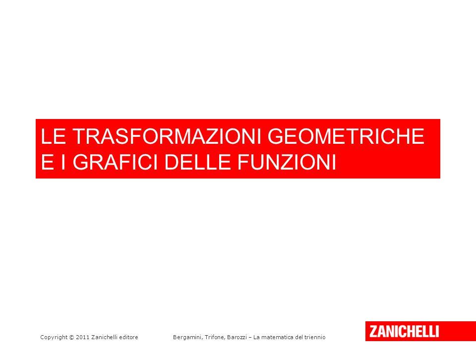 LE TRASFORMAZIONI GEOMETRICHE E I GRAFICI DELLE FUNZIONI Copyright © 2011 Zanichelli editoreBergamini, Trifone, Barozzi – La matematica del triennio