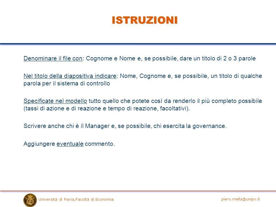 Università di Pavia,Facoltà di Economia ISTRUZIONI Denominare il file con: Cognome e Nome e, se possibile, dare un titolo di 2 o 3 parole Nel titolo d