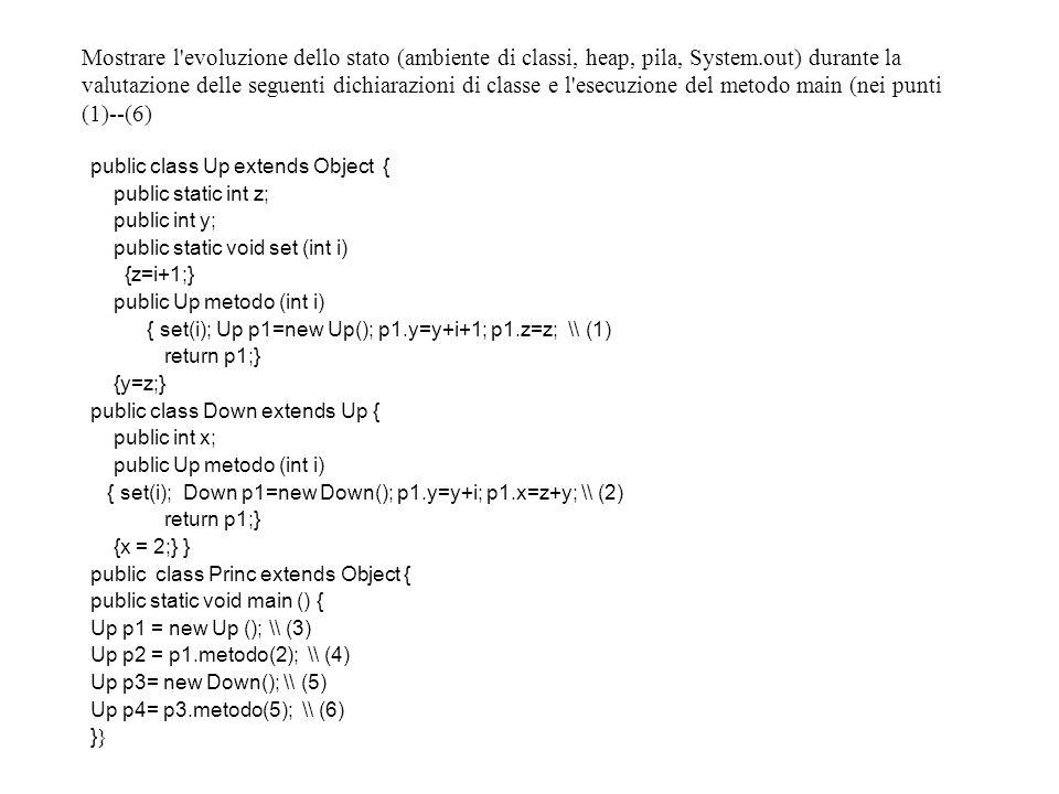 Mostrare l evoluzione dello stato (ambiente di classi, heap, pila, System.out) durante la valutazione delle seguenti dichiarazioni di classe e l esecuzione del metodo main (nei punti (1)--(6) public class Up extends Object { public static int z; public int y; public static void set (int i) {z=i+1;} public Up metodo (int i) { set(i); Up p1=new Up(); p1.y=y+i+1; p1.z=z; \\ (1) return p1;} {y=z;} public class Down extends Up { public int x; public Up metodo (int i) { set(i); Down p1=new Down(); p1.y=y+i; p1.x=z+y; \\ (2) return p1;} {x = 2;} } public class Princ extends Object { public static void main () { Up p1 = new Up (); \\ (3) Up p2 = p1.metodo(2); \\ (4) Up p3= new Down(); \\ (5) Up p4= p3.metodo(5); \\ (6)}