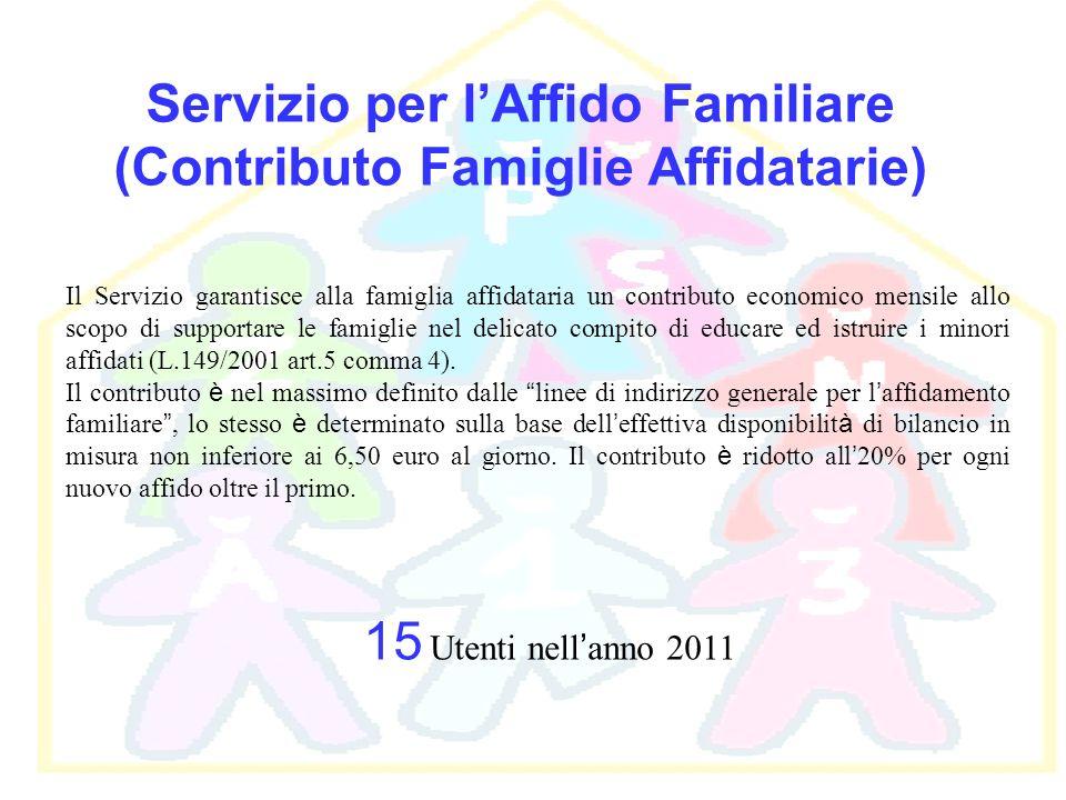 Servizio per lAffido Familiare (Contributo Famiglie Affidatarie) Il Servizio garantisce alla famiglia affidataria un contributo economico mensile allo