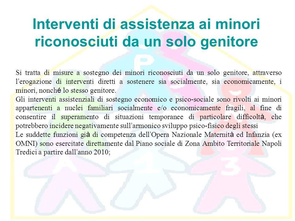 Interventi di assistenza ai minori riconosciuti da un solo genitore Si tratta di misure a sostegno dei minori riconosciuti da un solo genitore, attrav