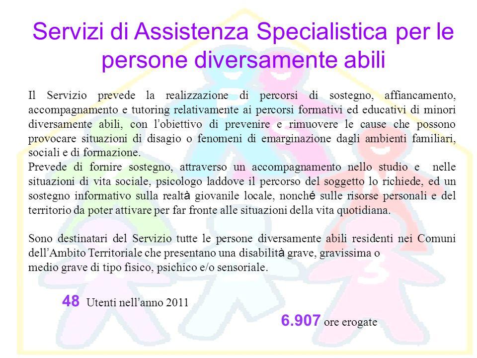 Servizi di Assistenza Specialistica per le persone diversamente abili Il Servizio prevede la realizzazione di percorsi di sostegno, affiancamento, acc