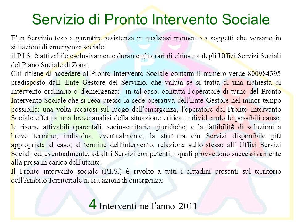 Servizio di Pronto Intervento Sociale E un Servizio teso a garantire assistenza in qualsiasi momento a soggetti che versano in situazioni di emergenza
