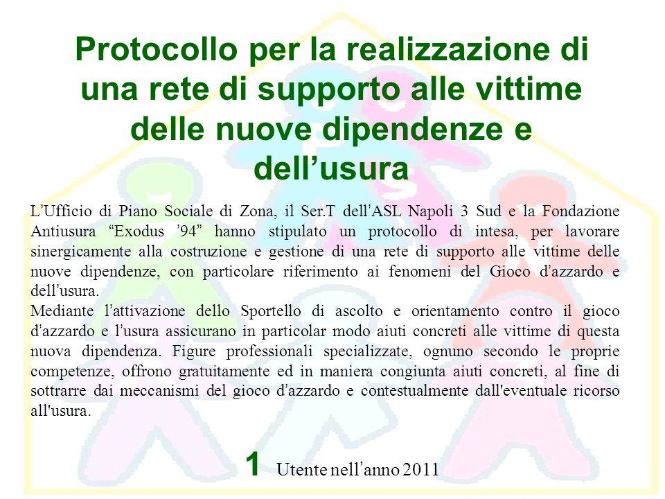 Protocollo per la realizzazione di una rete di supporto alle vittime delle nuove dipendenze e dellusura L Ufficio di Piano Sociale di Zona, il Ser.T d