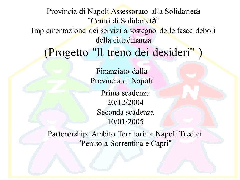 Provincia di Napoli Assessorato alla Solidariet à Centri di Solidariet à Implementazione dei servizi a sostegno delle fasce deboli della cittadinanza