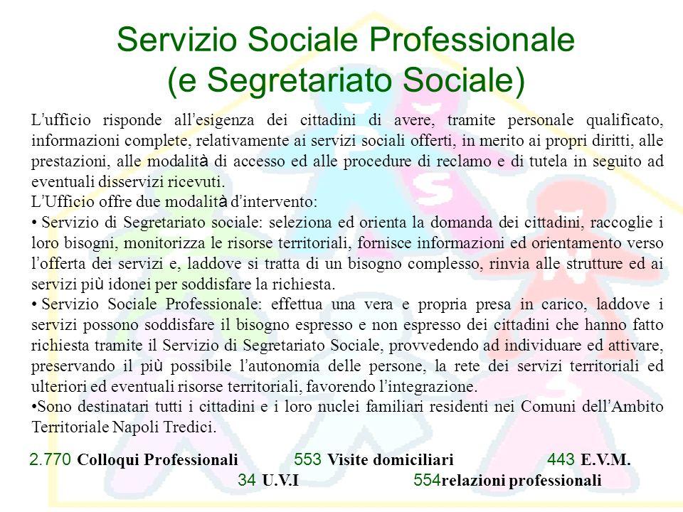 Servizio Sociale Professionale (e Segretariato Sociale) L ufficio risponde all esigenza dei cittadini di avere, tramite personale qualificato, informa