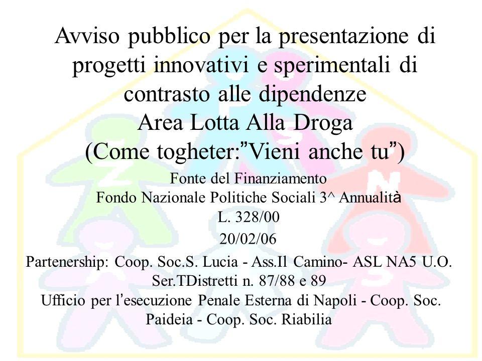 Avviso pubblico per la presentazione di progetti innovativi e sperimentali di contrasto alle dipendenze Area Lotta Alla Droga (Come togheter: Vieni an