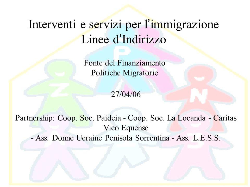 Interventi e servizi per l immigrazione Linee d Indirizzo Fonte del Finanziamento Politiche Migratorie 27/04/06 Partnership: Coop. Soc. Paideia - Coop