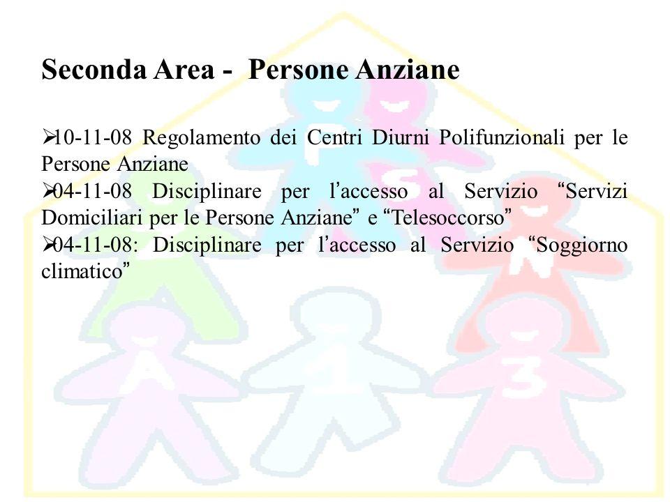 Seconda Area - Persone Anziane 10-11-08 Regolamento dei Centri Diurni Polifunzionali per le Persone Anziane 04-11-08 Disciplinare per l accesso al Ser