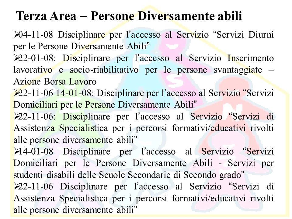 Terza Area – Persone Diversamente abili 04-11-08 Disciplinare per l accesso al Servizio Servizi Diurni per le Persone Diversamente Abili 22-01-08: Dis