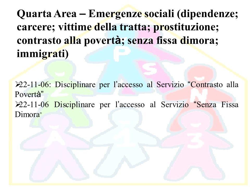 Quarta Area – Emergenze sociali (dipendenze; carcere; vittime della tratta; prostituzione; contrasto alla povert à ; senza fissa dimora; immigrati) 22