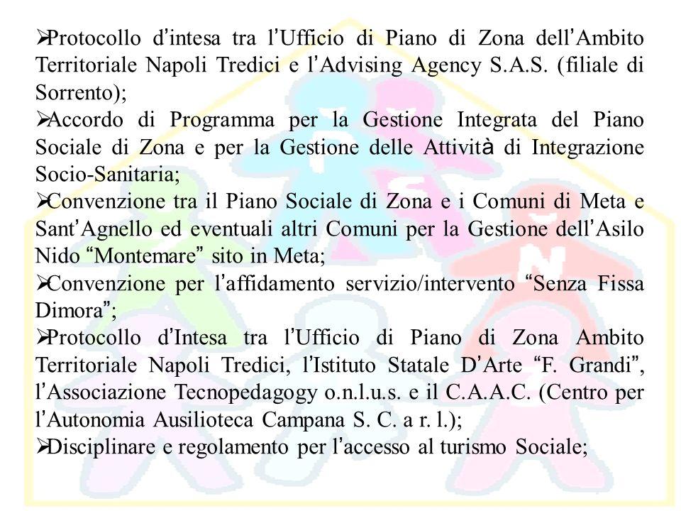 Protocollo d intesa tra l Ufficio di Piano di Zona dell Ambito Territoriale Napoli Tredici e l Advising Agency S.A.S. (filiale di Sorrento); Accordo d