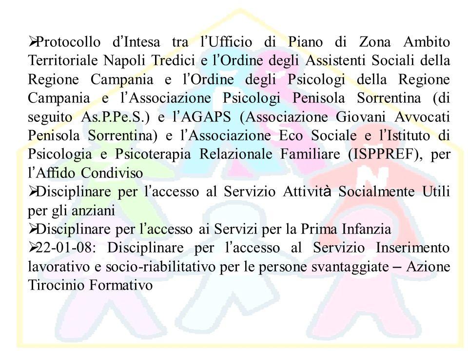 Protocollo d Intesa tra l Ufficio di Piano di Zona Ambito Territoriale Napoli Tredici e l Ordine degli Assistenti Sociali della Regione Campania e l O
