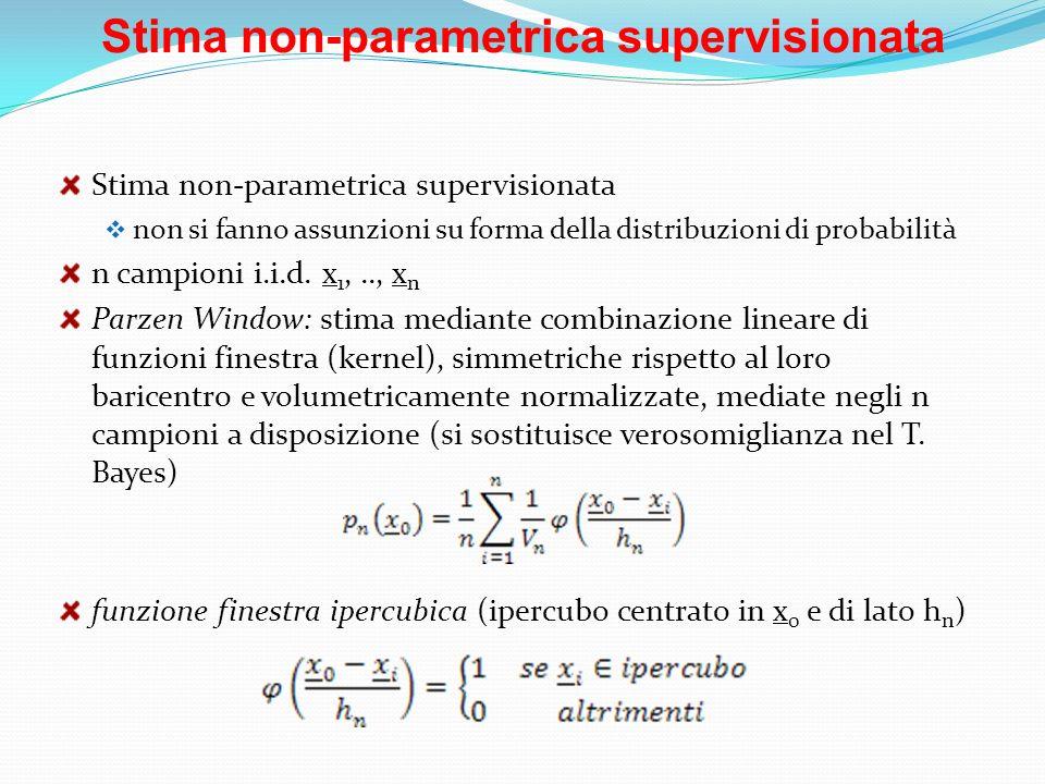 Stima non-parametrica supervisionata non si fanno assunzioni su forma della distribuzioni di probabilità n campioni i.i.d. x 1,.., x n Parzen Window: