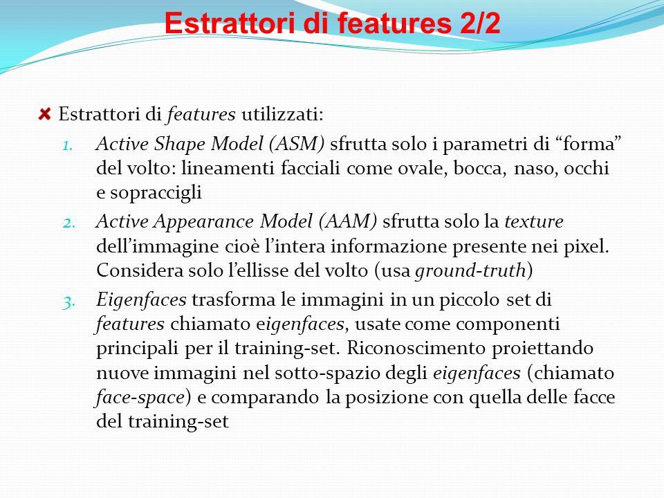 Estrattori di features 2/2 Estrattori di features utilizzati: 1. Active Shape Model (ASM) sfrutta solo i parametri di forma del volto: lineamenti facc