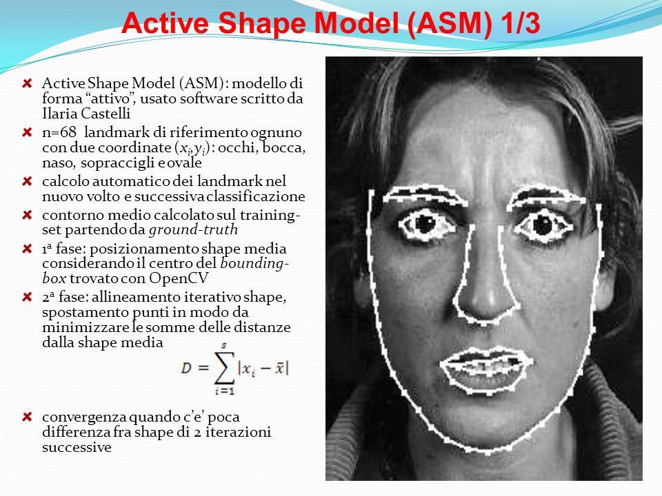 Active Shape Model (ASM) 1/3 Active Shape Model (ASM): modello di forma attivo, usato software scritto da Ilaria Castelli n=68 landmark di riferimento