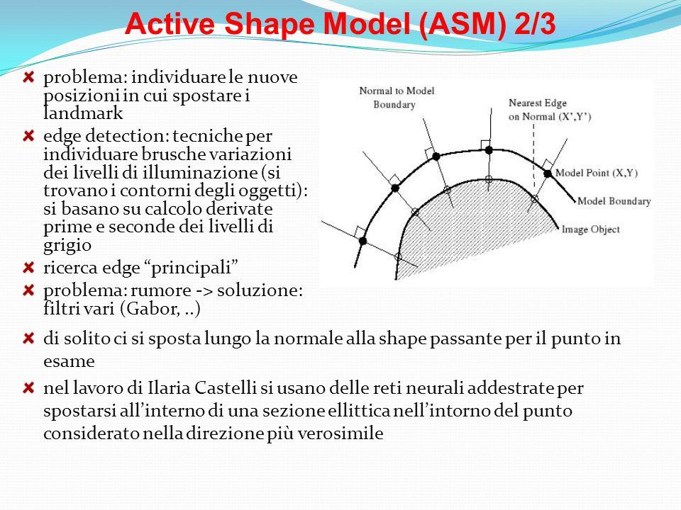 Active Shape Model (ASM) 2/3 problema: individuare le nuove posizioni in cui spostare i landmark edge detection: tecniche per individuare brusche vari