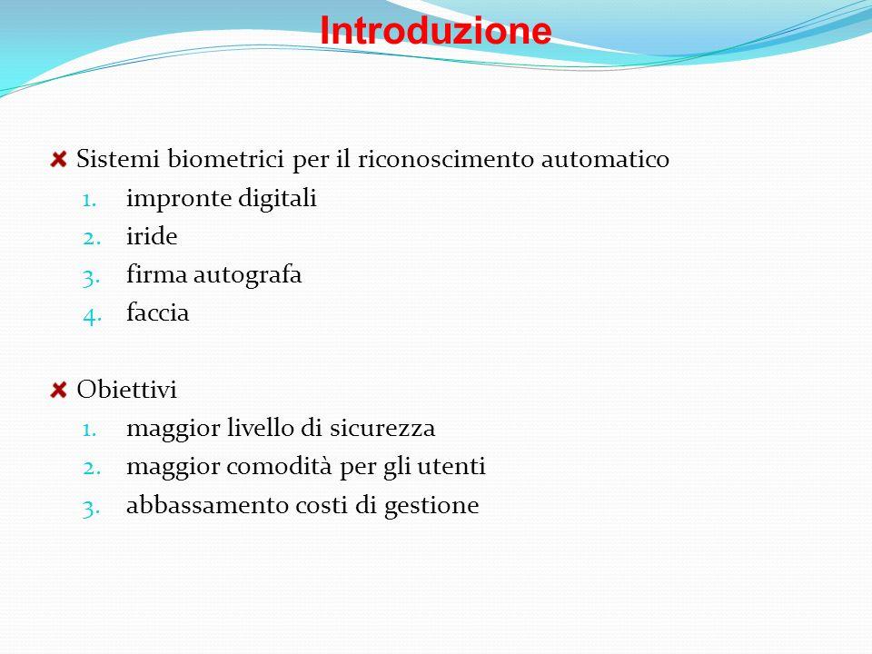 Introduzione Sistemi biometrici per il riconoscimento automatico 1. impronte digitali 2. iride 3. firma autografa 4. faccia Obiettivi 1. maggior livel