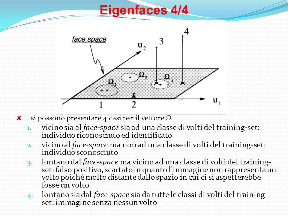 Eigenfaces 4/4 si possono presentare 4 casi per il vettore Ω 1. vicino sia al face-space sia ad una classe di volti del training-set: individuo ricono