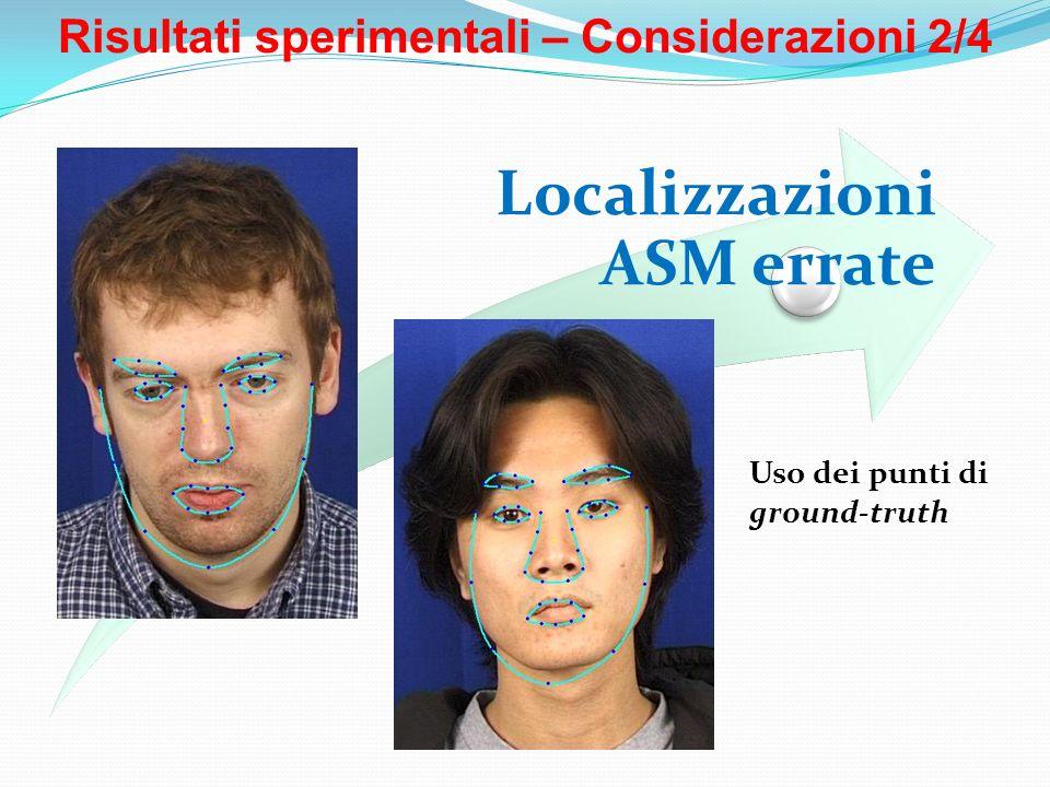 Risultati sperimentali – Considerazioni 2/4 Localizzazioni ASM errate Uso dei punti di ground-truth