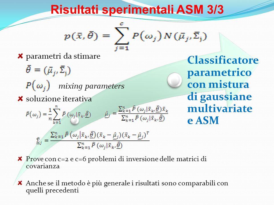 Risultati sperimentali ASM 3/3 Classificatore parametrico con mistura di gaussiane multivariate e ASM Prove con c=2 e c=6 problemi di inversione delle