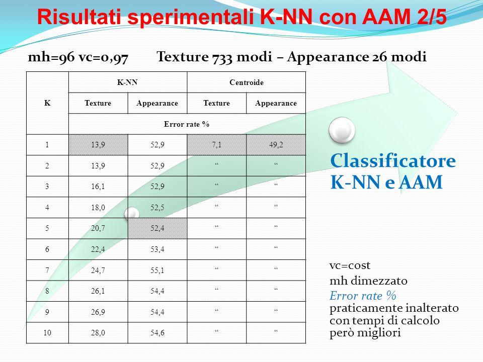 Risultati sperimentali K-NN con AAM 2/5 Classificatore K-NN e AAM vc=cost mh dimezzato Error rate % praticamente inalterato con tempi di calcolo però