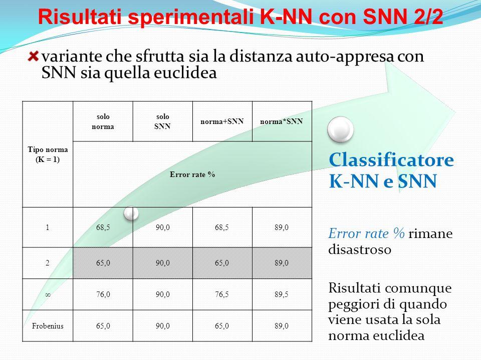 Risultati sperimentali K-NN con SNN 2/2 Classificatore K-NN e SNN Tipo norma (K = 1) solo norma solo SNN norma+SNNnorma*SNN Error rate % 168,590,068,5
