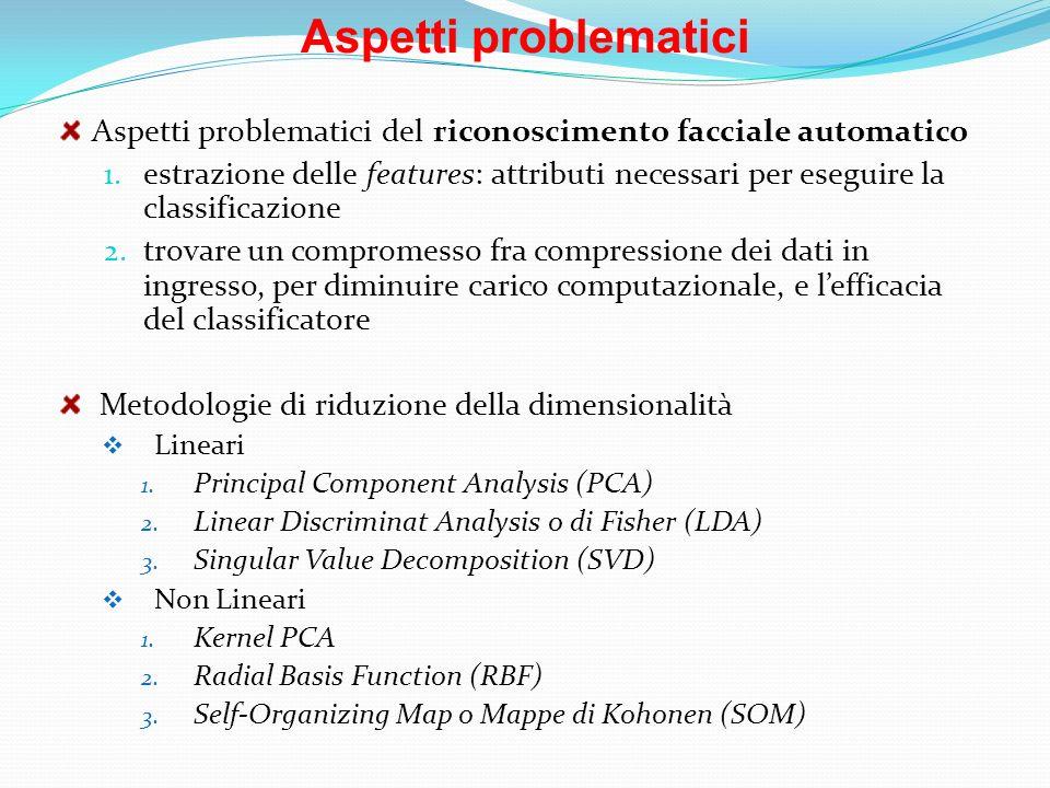 Aspetti problematici Aspetti problematici del riconoscimento facciale automatico 1. estrazione delle features: attributi necessari per eseguire la cla