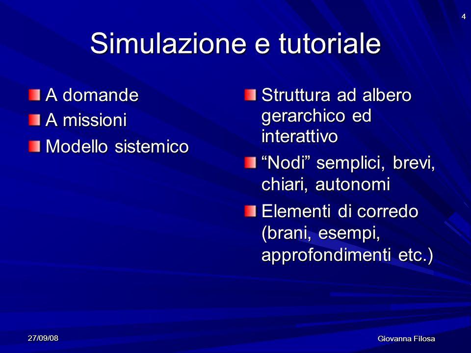 27/09/08 Giovanna Filosa 4 Simulazione e tutoriale A domande A missioni Modello sistemico Struttura ad albero gerarchico ed interattivo Nodi semplici,